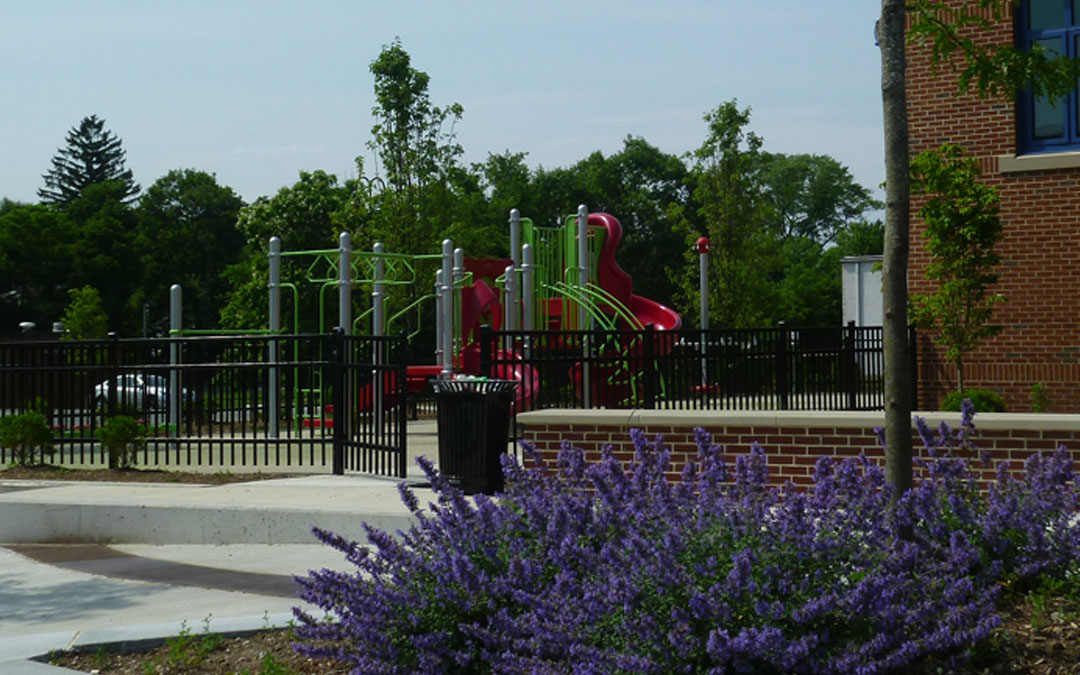 5Avery-Elementary-School-Play structure-gate-trashcan-in bloom purple